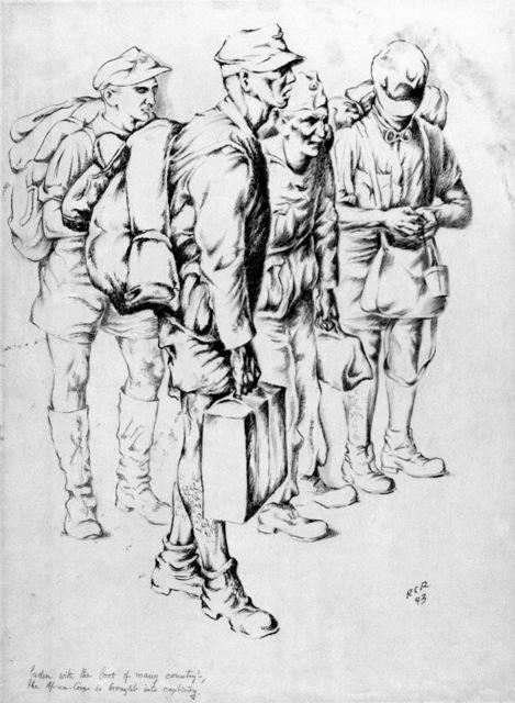 "Artwork: ""Afrika Korps Prisoners"". Artist: Rudolf C. Von Ripper, Algiers, 1943. Catalog Number: D.10.33.45"