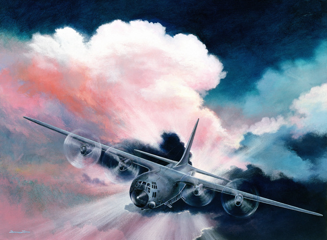 "Artwork: ""An Old Friend - C-130 Gunship"". Artist: Dennis Linn"