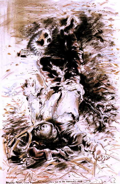 "Artwork: ""Bloody Point, Cape Gloucester"". Artist: Frede Vidar, New Britain, 1943. Catalog Number: D.5.2.84"