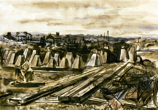 "Artwork: ""Cherbourg Defenses"". Artist: Albert Gold. Catalog Number: D.4.26.46"