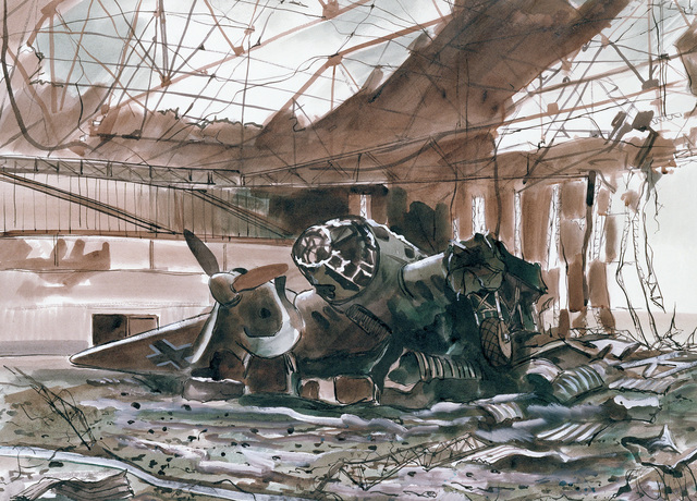 "Artwork: ""Damaged Hangar and German Bomber from a Raid on Mourmelon, France, 1944"". Artist: Arthur Rothenberg, US Air Force Art Collection"