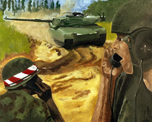 "Artwork: ""Directing Fire (Abrams Tank)"". Artist: David G. Briggs Jr. Catalog Number: P.2.1.83"