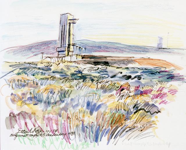 """Artwork: """"Early Sunset - Complex 3, Vandenberg AFB"""". Artist: David Rose, USAF Art Collection"""