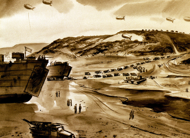 "Artwork: ""Exit from Omaha Beach"". Artist: Harrison Standley, Normandy, France, 1944. Catalog Number: D.4.282.46"