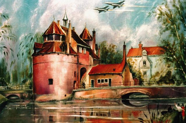 """Artwork: """"Fighters over Bruges"""". Artist: Edward Kirk"""