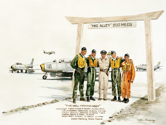 "Artwork: ""Five Men, Fifty-Five Migs"". Artist: Nixon Galloway"