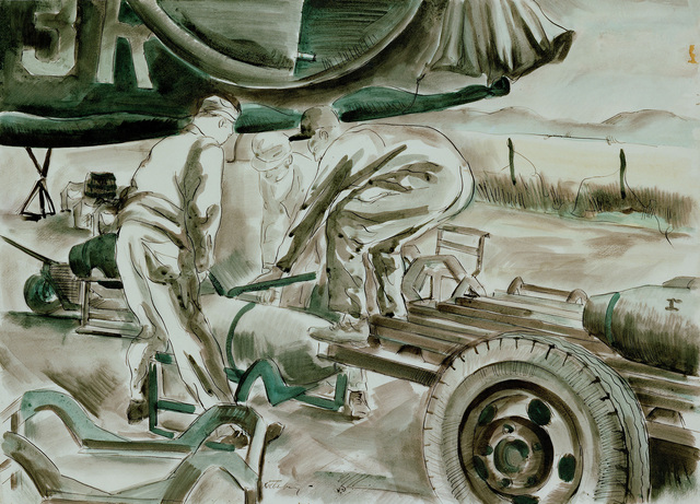 """Artwork: """"Ground Crews Loading a B-24 Liberator with Bombs Before a Mission, Norfolk, Great Britain, 1944"""" Artist: Arthur Rothenberg"""