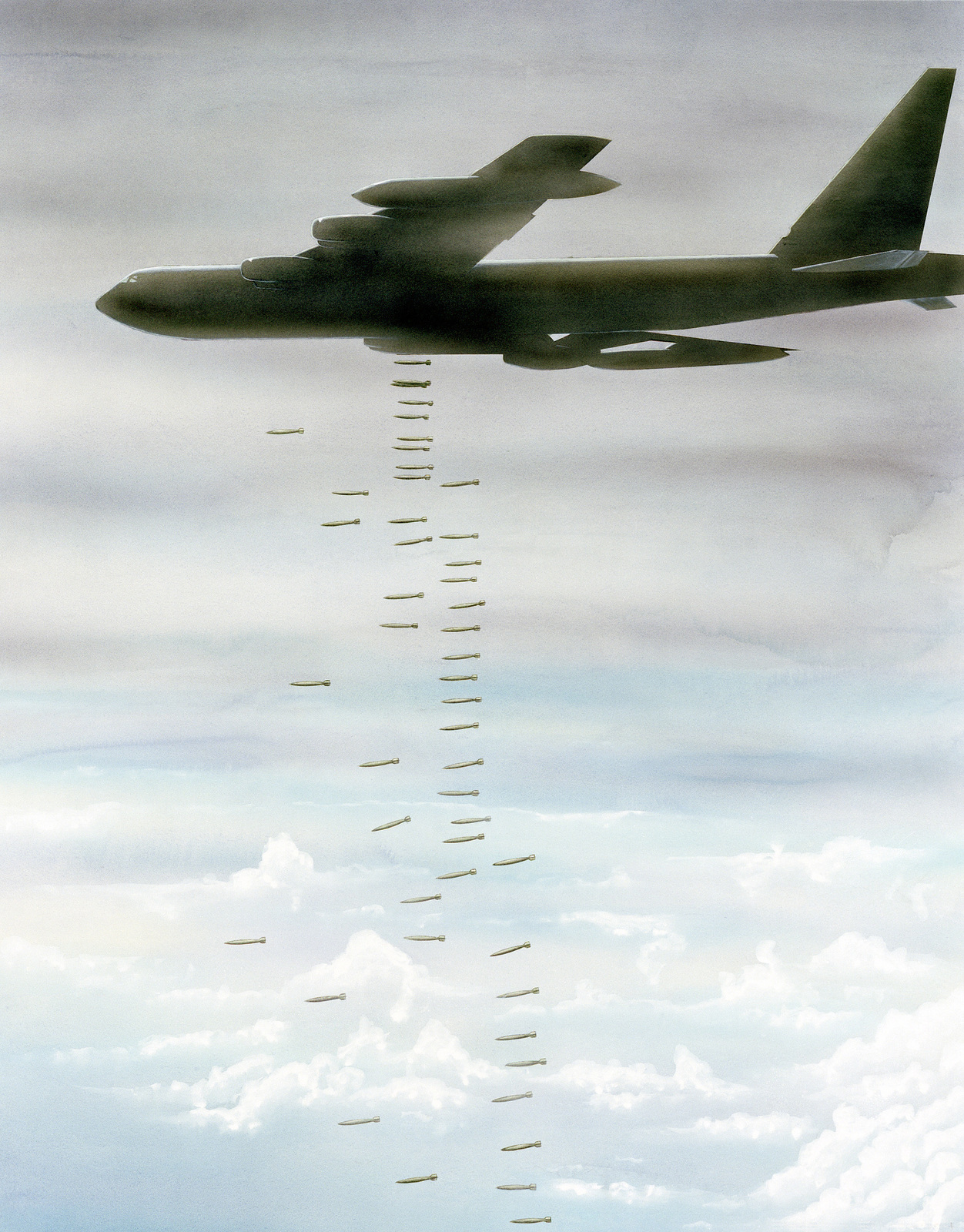 "Artwork: ""Hanoi: The 1972 Christmas Offensive"". Artist: Frank Sierra, USAF Art Collection"