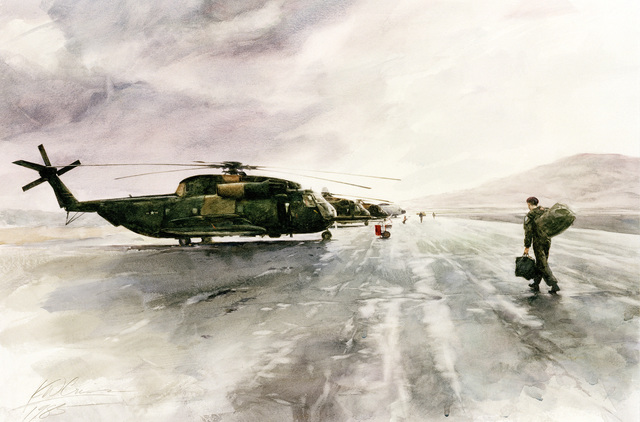 "Artwork: ""HH-53s and C-130 at Nellis AFB, Nevada"". Artist: Keith Criss"
