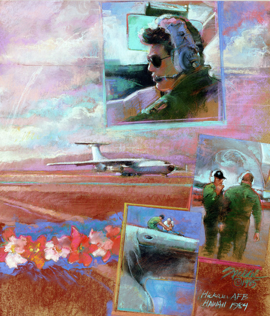 "Artwork: ""Just Another Beautiful Day in Paradise"". Artist: Sandra Speidel, USAF Art Collection. Note: Copyrighted"