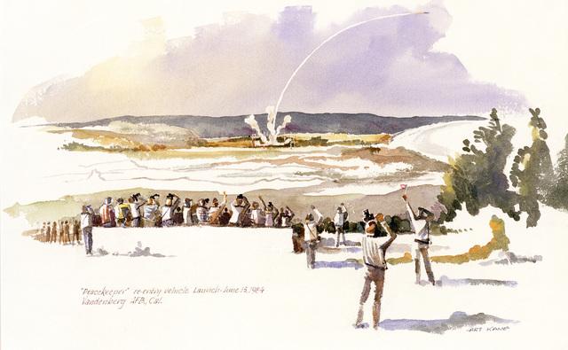 """Artwork: """"Peacemaker Launch, Vandenberg AFB"""". Artist: Art Kane"""