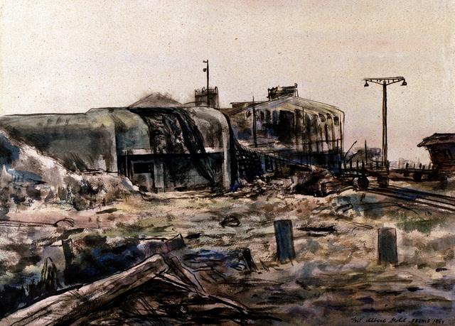 "Artwork: ""Pillbox Near the 'Gare Maritime'"". Artist: Albert Gold, Cherbourg, France, 1944. Catalog Number: W.5.336.45"