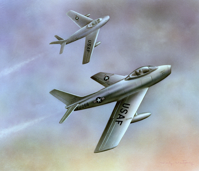 "Artwork: ""Sabre Jets"". Artist: Marilyn Montgomery, USAF Art Collection. Note: Copyrighted"