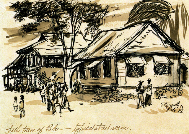 "Artwork: ""Street Scene in Palo"". Artist: Joseph Stefanelli, Philippines, 1944. Catalog Number: D.35.19.45"