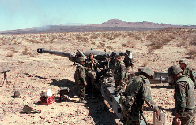 Left rear view, M198 155mm Howitzer. Five gun crewmen standing beside left trail carriage. Desert underbrush in foreground and mountain range in background