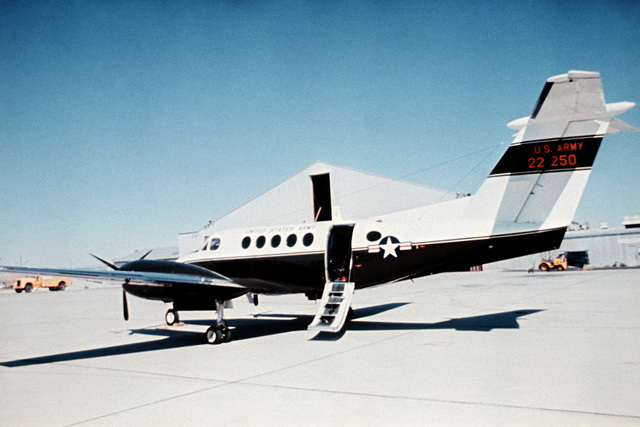 Left side ground view of the C-12 twin turboprop aircraft