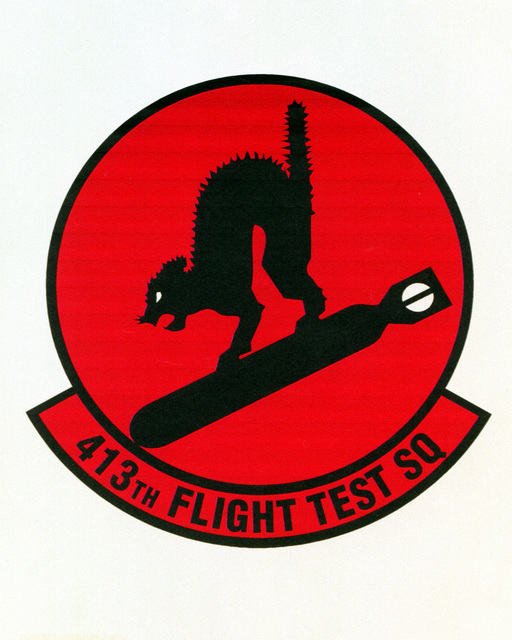 Patch designed and shot at MAXWELL AIR FORCE BASE, ALABAMA, USA - AIR FORCE ORGANIZATIONAL EMBLEMS - 1995...413th Flight Test Squadron - Exact date shot unknown. Air Force Historical Research Agency, 95-230