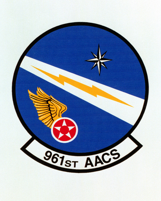 Patch designed and shot at MAXWELL AIR FORCE BASE, ALABAMA, USA - AIR FORCE ORGANIZATIONAL EMBLEMS - 1995...961st Airborne Air Control Squadron - Exact date shot unknown. Air Force Historical Research Agency, 95-228