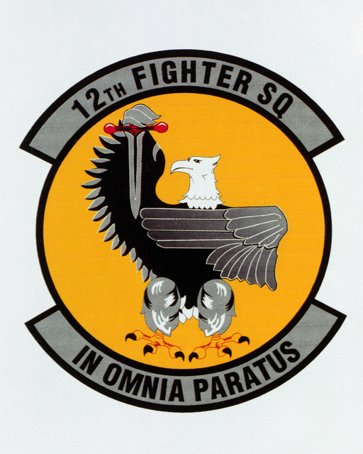 Patch designed and shot at MAXWELL AIR FORCE BASE, ALABAMA, USA - AIR FORCE ORGANIZATIONAL EMBLEMS - 1995...12th Fighter Squadron - Exact date shot unknown. Air Force Historical Research Agency, 95-225