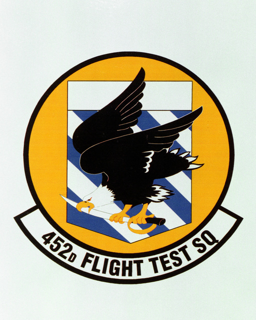 Patch designed and shot at MAXWELL AIR FORCE BASE, ALABAMA, USA - AIR FORCE ORGANIZATIONAL EMBLEMS - 1995...452nd Flight Test Squadron - Exact date shot unknown. Air Force Historical Research Agency, 95-223