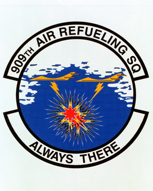 Patch designed and shot at MAXWELL AIR FORCE BASE, ALABAMA, USA - AIR FORCE ORGANIZATIONAL EMBLEMS - 1995...909th Air Refueling Squadron - Exact date shot unknown. Air Force Historical Research Agency, 95-227