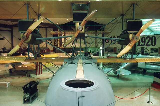 US Navy flying boat NC-4 shown on display at the US Naval Aviation Museum. This aircraft completed the first flight across the Atlantic Ocean in May 1919. All Hands - April 1985