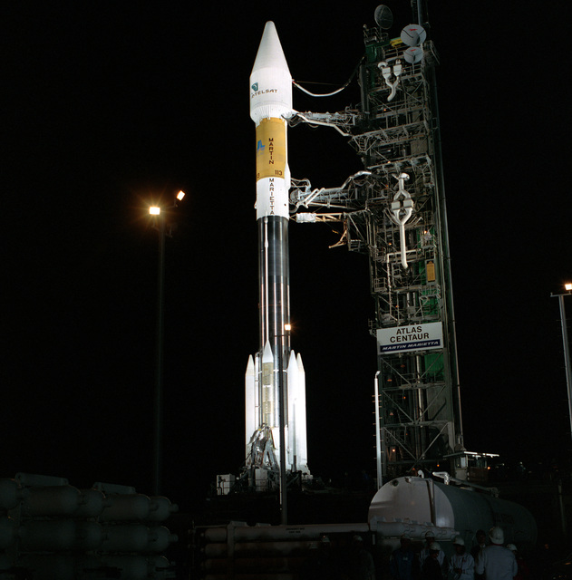 A Martin Marietta Atlas IIAS/AC-113 is poised on Launch Complex 36B ready to carry the INTELSAT VII#2 into orbit