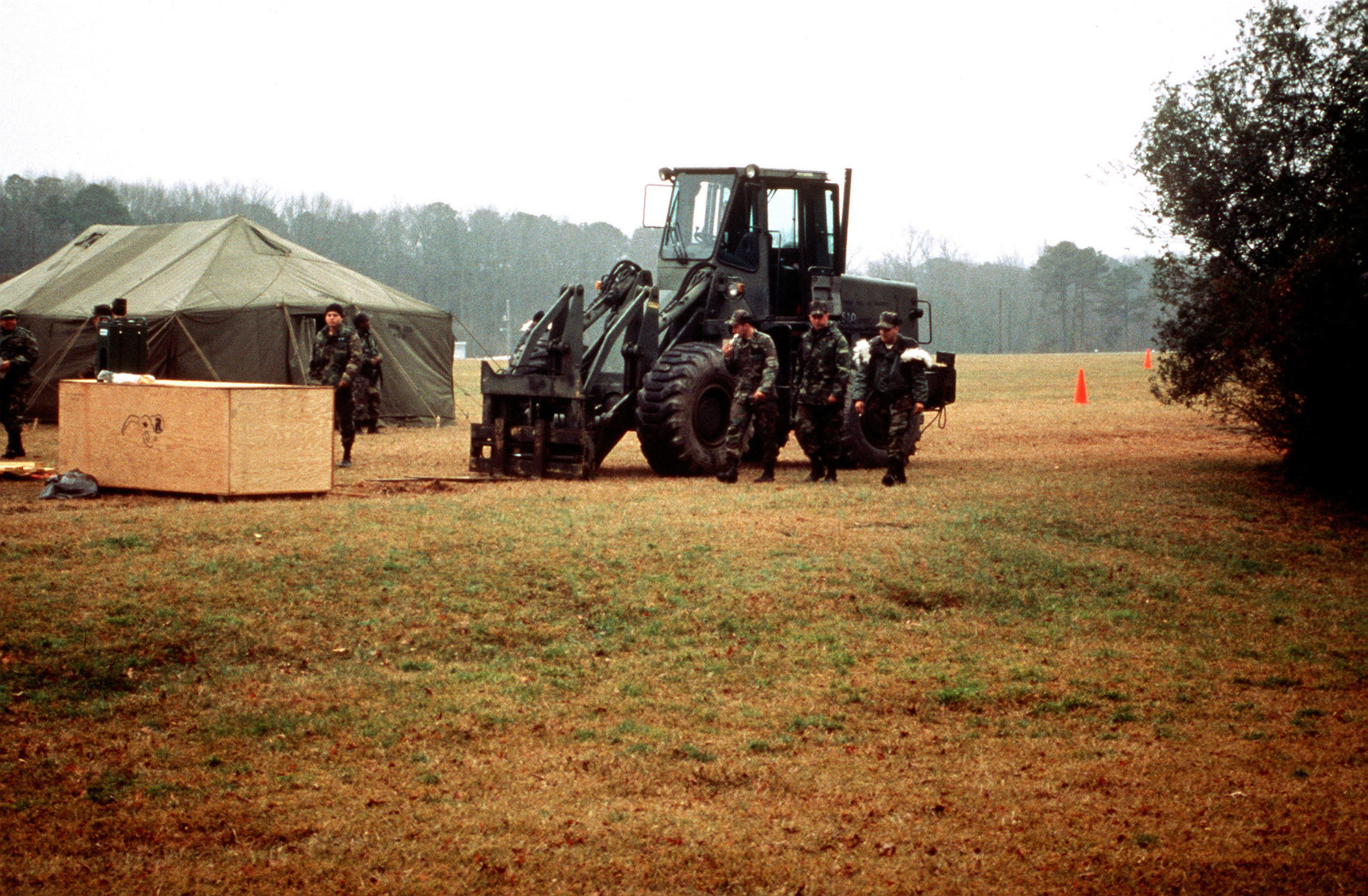 The setting up of camp was made easier by the help of a forklift on the first day of the field training exercise for the 11th Civil Engineer Squadron from Bolling Air Force Base, Washington, DC