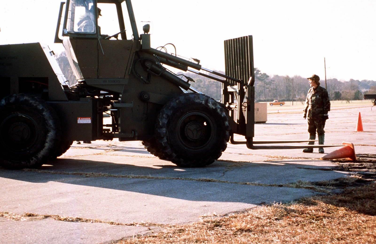Members of the 11th Civil Engineer Squadron from Bolling Air Force Base, Washington, DC learn to operate a forklift in an open field