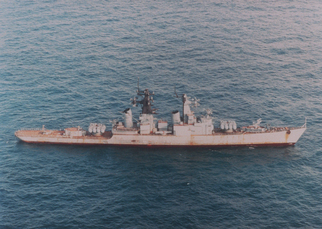 Aerial starboard side view of the former Russian Navy Pacific Fleet Kynda class guided missile cruiser Admiral Fokin as seen under tow en route tot a scrapping facility