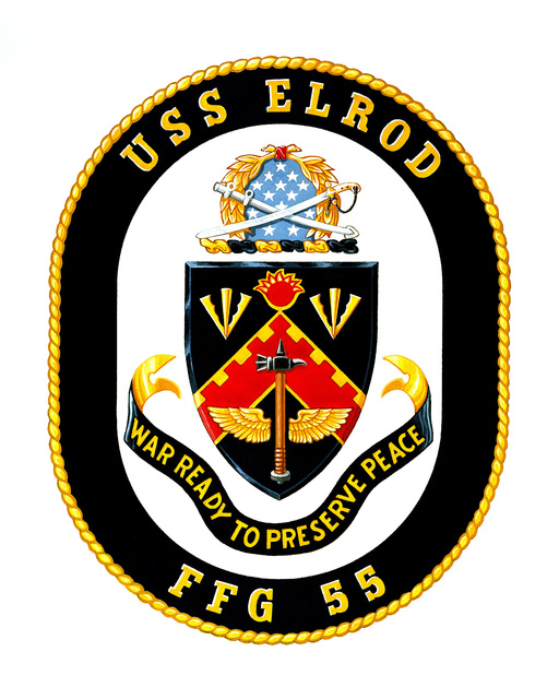 Coat of Arms for the guided missile frigate USS ELROD (FFG 55)