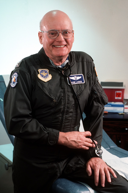 """USAF Colonel (Dr.) Francis T. Larkin retired in January 1995 at 71 years of age-the oldest active duty officer in the Air Force. Colonel Larkin was the CHIEF Flight Surgeon for the 722nd Medical Group, March ARB, California. From AIRMAN Magazine's February 1995 issue article """"The Last of a Breed"""""""