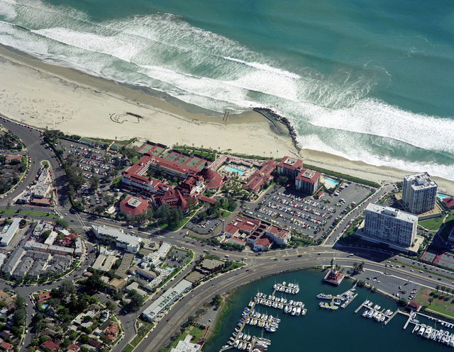 Aerial view over looking the Hotel del Coronado and Marina on Coronado Island, on the peninsula, in San Diego, California