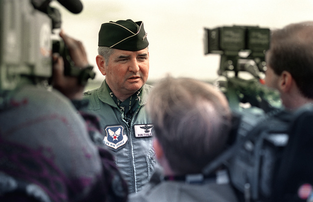 General Ronald Fogelman, Air Force CHIEF of STAFF, is interviewed by the local press during his visit