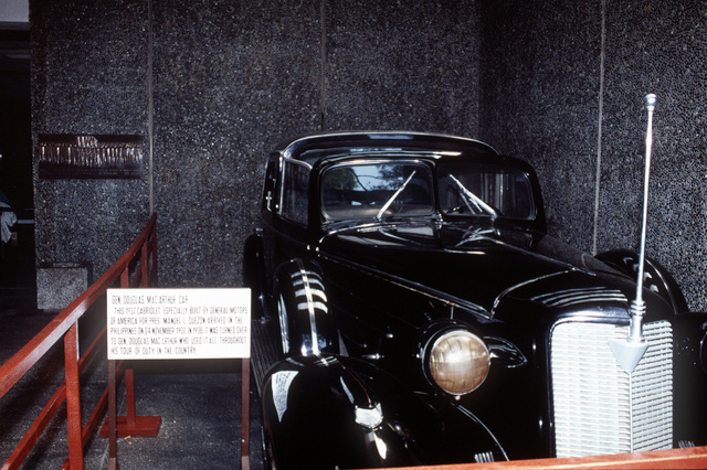 The car used by GEN. Douglas MacArthur throughout his tour in the Philippines is on display at the Corregidor Museum. The 1937 Cabriolet was especially built by General Motors for the Philippine president Manuel L. Quezon. It was given to GEN. MacArthur in 1938