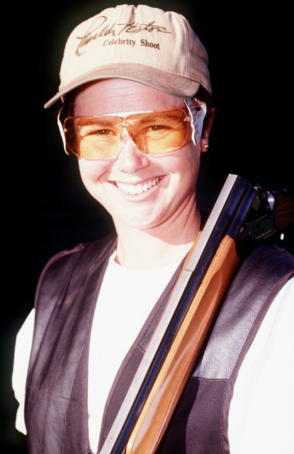 CPL. Theresa Wentzel, US Army, poses at the Trap Range at Tiro Federal Argentina complex prior to the start of shooting competition. CPL. Wentzel won 1ST Place in the shooting Exhibition during the 12th Pan American Games