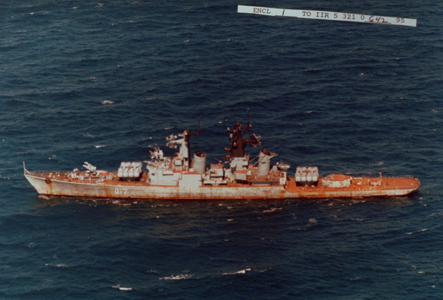 Aerial port side view of the former Russian Navy Kynda class guided missile cruiser Admiral Fokin under tow enroute to a foreign scrapping facility
