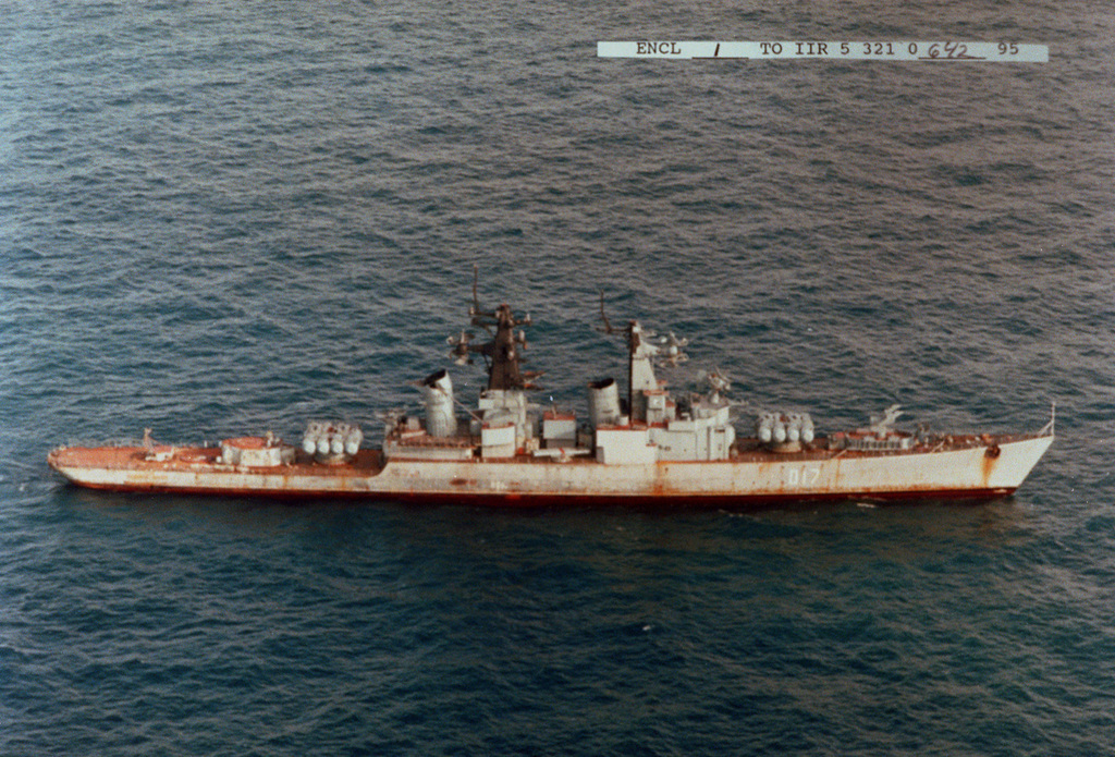 Aerial starboard side view of the former Russian Navy Kynda class guided missile cruiser Admiral Fokin under tow enroute to a foreign scrapping facility