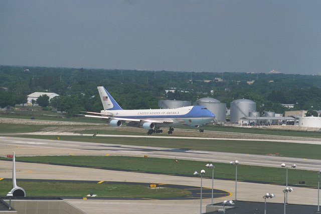 A right front view of Air Force One, a modified VC-747 aircraft, coming in for a landing at the international airport
