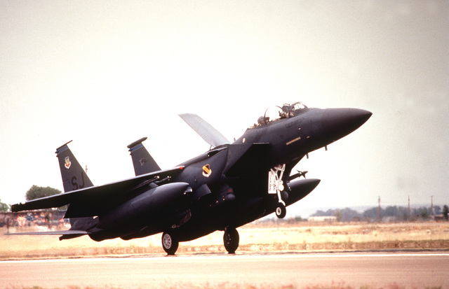 A 3/4 right front view of a US Air Force F-15E Strike Eagle from the 334th Fighter Squadron, Seymour Johnson Air Force Base, NC, lands at Roswell Industrial Air Center during the annual air defense exercise
