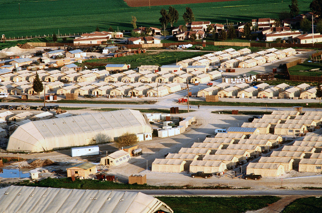 A tent city has been erected for personnel deployed to the operation. This operation is a security mission to enforce the United Nations no-fly zone north of the 36 degree parallel from Iraqi air and ground incursion. A four nation coalition of US, Turkey, Great Britain and France has been actively protecting and supplying Kurdish refugees since Desert Storm in 1991.(Exact date unknown)