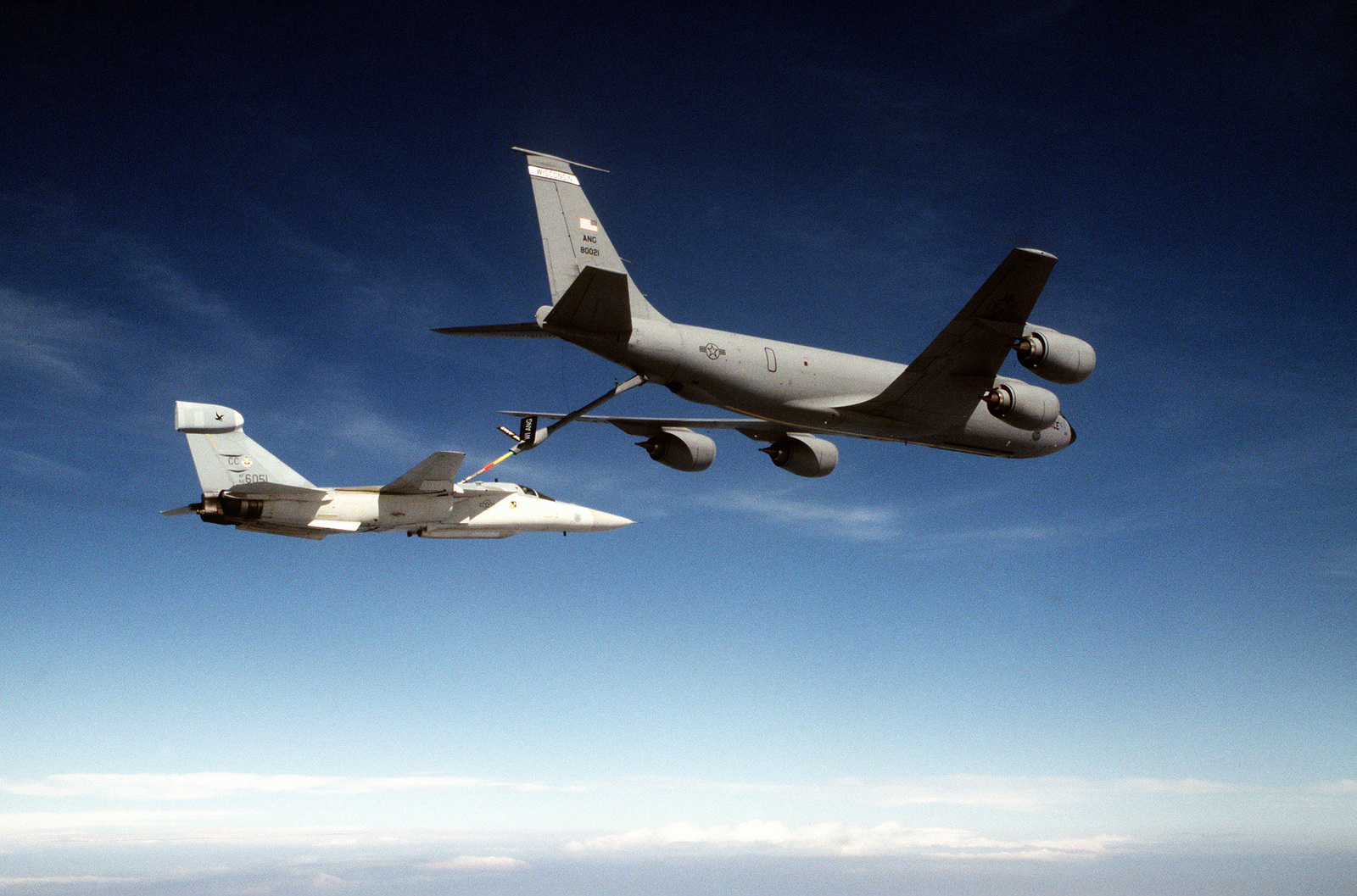 A U.S. Air Force EF-111 Raven is refueled by a KC-135 Stratotanker. The EF-111 Raven is designed to provide electronic countermeasures support for tactical air forces and will detect, sort, identify and nullify different enemy radar. The Raven is deployed in Aviano Air Base, Italy, from the 429th Electronic Combat Squadron, Cannon Air Force Base, New Mexico and is in support of the operation to enforce the no fly zone over Bosnia. Exact Date Shot Unknown