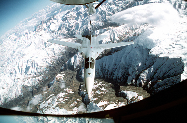 A US Air Force EF-111 Raven makes the approach for an inflight refueling mission in support of a no-fly zone north of the 36 degree parallel from Iraqi air and ground incursion. A four nation coalition of US, Turkey, Great Britain and France has been actively protecting and supplying Kurdish refugees since Desert Storm in 1991.(Exact date unknown)