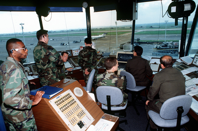 Air traffic controllers from the US and Turkey work as a team in the control tower guiding aircraft for the operation. This operation is a security mission to enforce the United Nations no-fly zone north of the 36 degree parallel from Iraqi air and ground incursion. A four nation coalition of US, Turkey, Great Britain and France has been actively protecting and supplying Kurdish refugees since Desert Storm in 1991.(Exact date unknown)