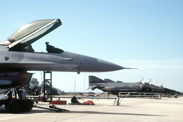 Aircraft from four nations lined the parking apron during the joint Dissimilar Air Combat Training exercise between German F-4's and MiG 29's, Italian 104's and American F-16's