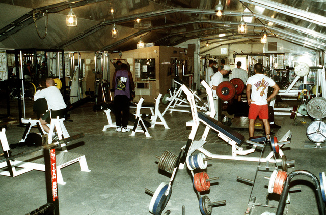 Personnel deployed to the operation work out in the Tent City Gym. This operation is a security mission to enforce the United Nations no-fly zone north of the 36 degree parallel from Iraqi air and ground incursion. A four nation coalition of US, Turkey, Great Britain and France has been actively protecting and supplying Kurdish refugees since Desert Storm in 1991.(Exact date unknown)