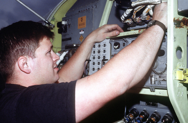 SENIOR AIRMAN Ben Brown replaces a feel and trim box which is a relay package for flight controls in the EF-111 Raven. The Raven is designed to provide electronic countermeasures support for tactical air forces and will detect, sort, identify and nullify different enemy's radar in support of the NATO enforcement of the no fly zone over Bosnia. Exact Date Shot Unknown