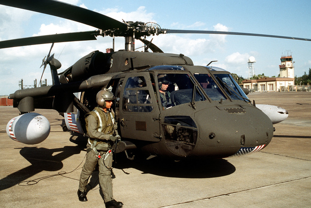 SGT. Frederick McMullen, US Army, prepares for the start of his UH-60 Black Hawk (Blackhawk) helicopter before flying a mission over Turkey in support of the operation. This operation is a security mission to enforce the United Nations no-fly zone north of the 36 degree parallel from Iraqi air and ground incursion. A four nation coalition of US, Turkey, Great Britain and France has been actively protecting and supplying Kurdish refugees since Desert Storm in 1991.(Exact date unknown)