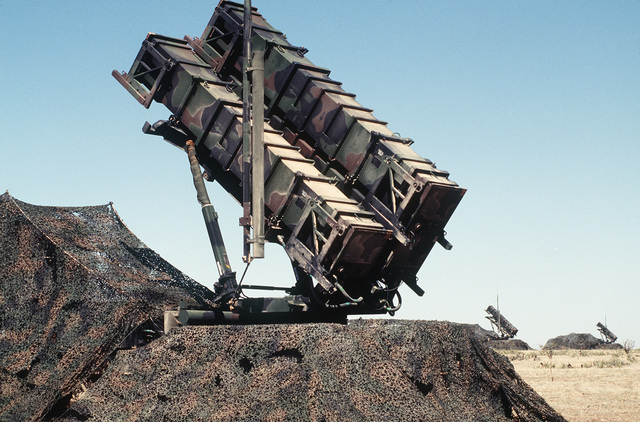 A Patriot missile battery site 1 is being operated by the 801st Squadron, GGW de Peel, Netherlands. The 801st is participating in the exercise by providing air defense support with Patriot and Hawk missile systems