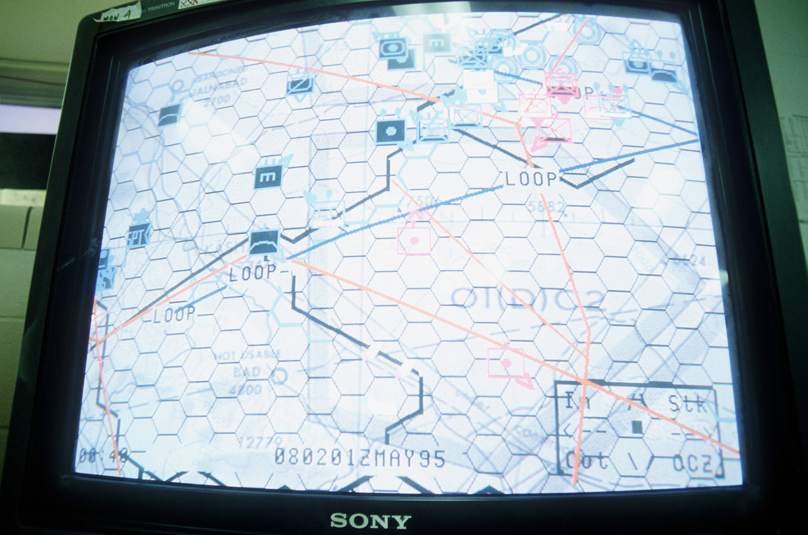 A close-up view of a computer monitor display that shows the grid for special operations forces, coalition forces, and fire control. Challenged by the desert environment and technical integration with a variety of other U.S. and multinational services for 10 days, personnel are participating in the largest air defense exercise in the free world